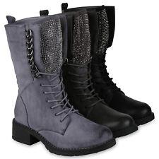 Damen Schnürstiefel Combat Boots Warm Gefütterte Stiefel Ketten 819459 Schuhe