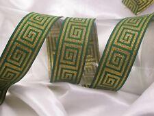 "Greek Key Jacquard Ribbon 1 5/16"" (33MM) Metallic Greek Key 3 yards & up Colors"