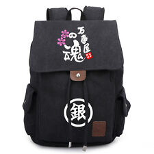 Anime Gintama Canvas Backpack Drawstring Casual Bag Laptop Rucksuck Book Satchel