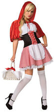 Ladies Sexy Little Red Riding Hood Halloween Fancy Dress Costume Outfit 8-10-12