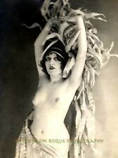 """Nude Woman Chorus Girl 8.5x11"""" Vintage Lovely Naked Female French Postcard Image"""
