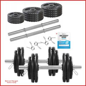 30kg Adjustable Dumbbell Set Round Grey Iron cast Spinlock Gym Weights 15kg