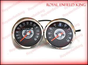 For Triumph BSA Norton Smith Replica Speedometer Tachometer Pair 150 MPH Grey