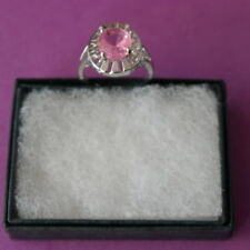 Nice Silver Ring With Pink Kunzite  3.2 Gr. Size O12 In Gift Box