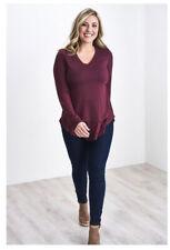 Latched Mama Long Sleeve V-Neck Nursing Maternity Women's Shirt in Wine 1X New