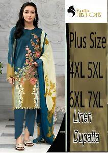 Ladies Pakistani Shalwar Kameez Lilan Plus size 4/5/6/7XL Stitched Kurta Salwar