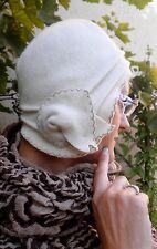 Berretto donna Lana bianco Stile di Anni 30 Mc Burn in Cappello per evento