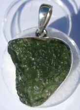 About 31.29 carats Moldavite Pendant 25x21x7mm set in solid .925 silver