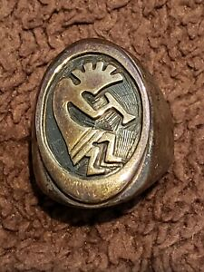 KOKOPELLI  Fertility/Agriculture Deity Solid Sterling Silver Men's Ring: Size 10