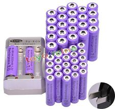 24x AA 3000mAh + 24x AAA 1800mAh Rechargeable 1.2V Ni-MH Pruple Battery+ Charger