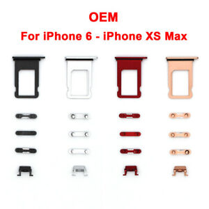 Volume Power Button Set SIM Card Holder Tray For iPhone XS Max XR X 8 7 6S Plus