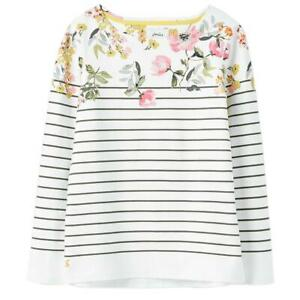 Joules Harbour Print Jersey Top - Cream Green Stripe Floral - RRP £29.95