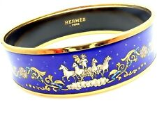 Rare! Authentic Hermes Paris Wide Blue Enamel Apollo Chariot Bangle Bracelet + B