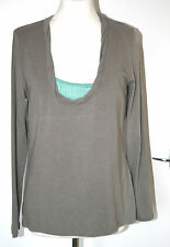EAST UK16 EU44 BROWN STRETCH TOP WITH GREEN CAMISOLE INSERT TO FRONT