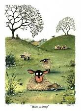 Hide in sheep print signed by Devon artist Mark Denman