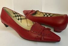$450 BURBERRY Pebbled Leather Tassel Loafer Pumps Heels 40/10 Worn Once!