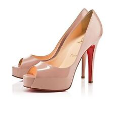 Christian Louboutin Patent Leather Peep Toes Slim Women's Heels