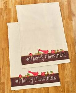 "2 Pc. Country Cardinal ""Merry Christmas"" Kitchen Dish Towel Set"