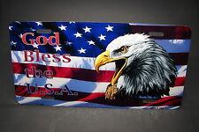 GOD BLESS AMERICA AMERICAN FLAG METAL ALUMINUM CAR LICENSE PLATE TAG