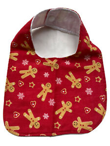 Baby,Traditional Feeding Bib,handmade,Fun, Christmas, Gingerbread On Red, 0-6