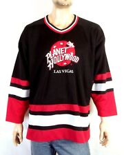vtg 90s rare Planet Hollywood Men's Sewn Hockey Jersey Black Red White Stripe Xl