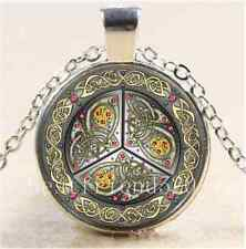 Tibet Silver Chain Pendant Necklace Bejeweled Celtic Shield Cabochon Glass