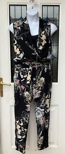 River Island Black Floral Jumpsuit size 14 New With Tags