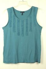 Daisy Fuentes Womens Size L Solid Blue Sleeveless Stitch Embellished Tank Top