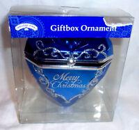 "4"" tall Plastic Blue Heart & Silver Glitter Gift Box Ornament Merry Christmas"