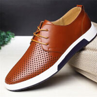 British Summer Mens Casual Leather Shoes Lace-up Sneakers Breathable Shoes