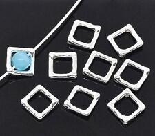 10 Cadres de perle Carré Embellissement 12x12mm couleur plaqué argent