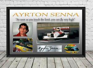 Ayrton Senna Signed Photo Print Poster Autographed Formula One Memorabilia