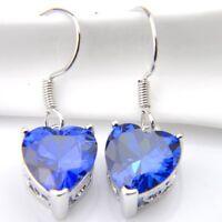 Love Heart Swiss Blue Fire Topaz Sapphire Gemstone Silver Dangle Hook Earrings