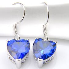 Love Heart Swiss Blue Fire Topaz Sapphire Gemstone Silver Dangle Hook Earrings