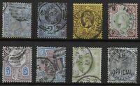 Fine Used Late QV Selection-Incl.Jubilee 9d. & 1s.Green (SG209 & 211). Ref.07229