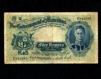 Mauritius:P-22,5 Rupees,1937 * King George VI * RARE * F-VF *