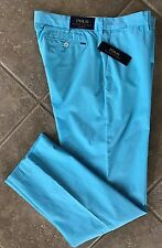Polo Ralph Lauren Flat Front Chino Pants Mens 32 x 30 Hamm Blue Classic NWT