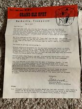 1957 WSM Grand Ole Opry Letter Elvis Presley Content