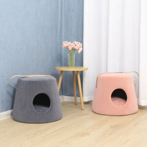Cat Kitten Igloo Cave Bed Pet Puppy House Footstool Warm & Soft Velvet Cushion