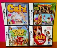 Petz Catz Dogz Park Pet Resort World of Zoo  - Game Lot Nintendo DS Lite 3DS 2DS