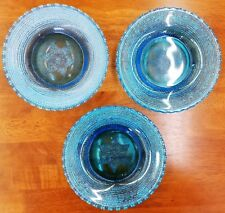 "Vintage Beaded Hobnail Star of David Blue Glass 7"" Plate Lot of 3"