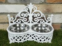 White Cast Iron & Stainless Steel Bowls Raised Stand Dog Cat Food Water Feeder