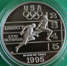 1995 P Atlanta Olympic Track and Field US Mint Proof Silver Dollar Coin Box COA
