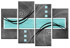 DUCK EGG BLUE GREY ABSTRACT CANVAS PICTURE WALL ART SPLIT MULTI PANEL 100cm