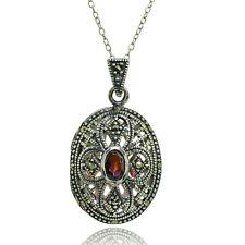 Sterling Silver Garnet Cross Marcasite Locket Necklace