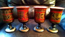 """Soviet Union Wooden Goblets 6"""" VINTAGE Hand Painted Cold War Drinkware Lot of 4"""