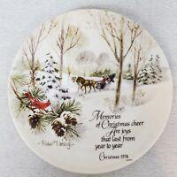 "1974 Christmas Decorative Plate Winterscene Series Robert Laessig 10½"" Vintage"
