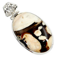 37X23mm Natural Beautiful Fossil Oval Pendant With German Silver Loop