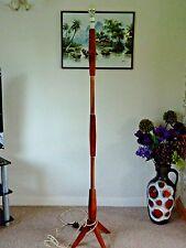 Vintage Retro Mid Century Teak Standard Lamp Floor Lamp Copper Accents Working!
