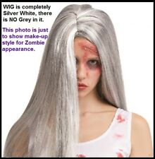 ZOMBIE WIG Witch Old Lady Vampiress Gothic Halloween Frozen Hippie Costume Party